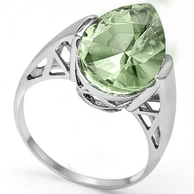 ELEGANT 4.57 CT LIGHT GREEN TEA AMETHYST 0.925 STERLING SILVER W/ PLATINUM RING