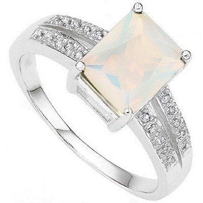 FASCINATING 1.86 CT MAGICAL MOONLIGHT OPAL DOUBLE WHITE DIAMOND 0.925 STERLING SILVER W/ PLATINUM RING