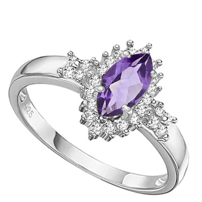 AMAZING 0.42 CARAT AMETHYST WITH DOUBLE GENUINE DIAMONDS PLATINUM OVER 0.925 STERLING SILVER RING