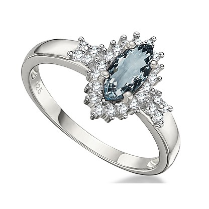 CARIBBEAN BLUE AQUAMARINE & GENUINE (SI) WHITE DIAMOND 0.925 STERLING SILVER W/ PLATINUM RING