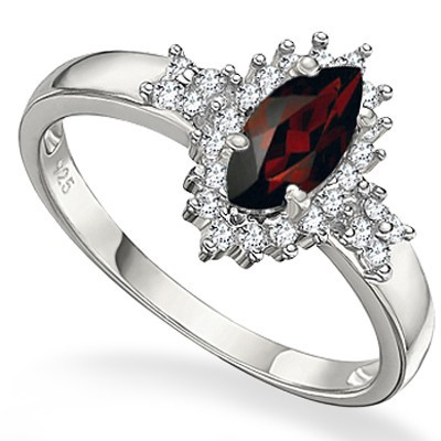 DEEP RASPBERRY RED GARNET & (SI) WHITE DIAMOND 0.925 STERLING SILVER W/ PLATINUM RING