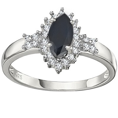 WONDERFUL GENUINE BLACK SAPPHIRE DOUBLE WHITE DIAMOND 0.925 STERLING SILVER W/ PLATINUM RING