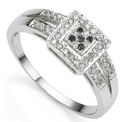 DAZZLING 5 PCS BLACK DIAMOND 0.925 STERLING SILVER W/ PLATINUM RING