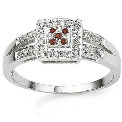 EXCLUSIVE 0.02 CT (5pcs) RED DIAMOND CRAFTED IN PLATINUM OVER 0.925 STERLING SILVER RING