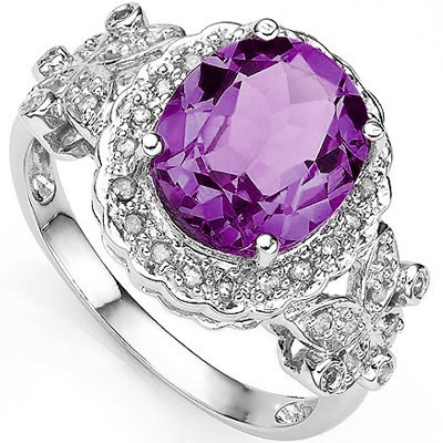 EXCLUSIVE 3.55 CARAT AMETHYST & DOUBLE GENUINE DIAMONDS PLATINUM OVER 0.925 STERLING SILVER RING
