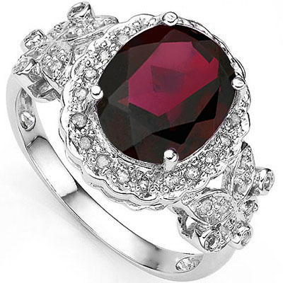 GREAT 4.05 CT GARNET & 2 PCS GENUINE DIAMOND PLATINUM OVER 0.925 STERLING SILVER RING