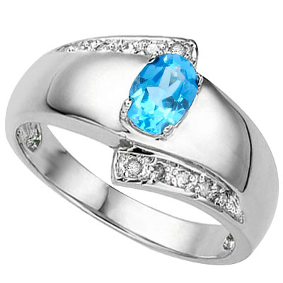 EXCELLENT 0.54 CARAT BLUE TOPAZ & DOUBLE GENUINE DIAMONDS PLATINUM OVER 0.925 STERLING SILVER RING
