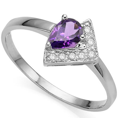 DAZZLING 0.4 CARAT AMETHYST WITH DOUBLE GENUINE DIAMONDS PLATINUM OVER 0.925 STERLING SILVER RING