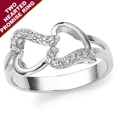 TWO HEARTS PROMISE RING, 6 PCS GENUINE WHITE DIAMOND ON 0.925 STERLING SILVER W/ PLATINUM