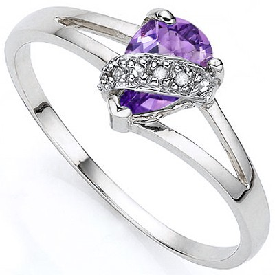 FABULOUS FLORAL LAVENDER AMETHYST DOUBLE WHITE DIAMOND 0.925 STERLING SILVER W/ PLATINUM RING