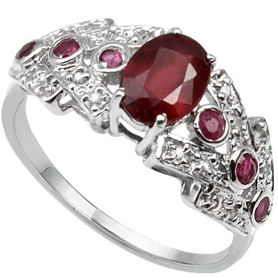 SPECTACULAR! 1.07 CT GENUINE RUBY & 6 PCS GENUINE RUBY 0.925 STERLING SILVER W/ PLATINUM RING