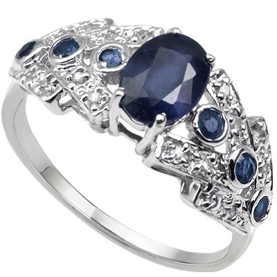 MAJESTIC GENUINE BLACK SAPPHIRE & DOUBLE WHITE DIAMOND 0.925 STERLING SILVER W/ PLATINUM RING
