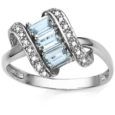 TRIPLE WATER BLUE AQUAMARINE DOUBLE WHITE DIAMOND 0.925 STERLING SILVER W/ PLATINUM RING