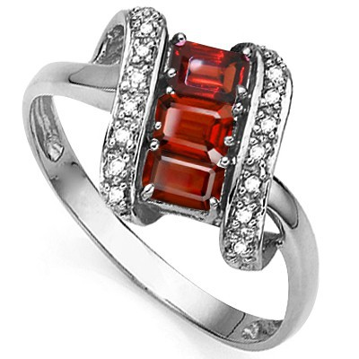CONTRACTED PERSIAN RED GARNET DOUBLE WHITE DIAMOND 0.925 STERLING SILVER W/ PLATINUM RING