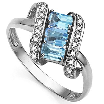 BREATHTAKING TRIPLE BLUE TOPAZ DOUBLE WHITE DIAMOND 0.925 STERLING SILVER W/ PLATINUM RING
