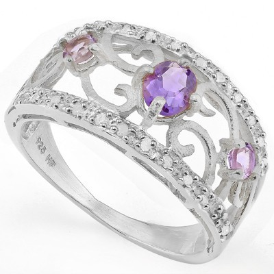 ALLURING 3 PCS AMETHYST WITH DOUBLE GENUINE DIAMONDS PLATINUM OVER 0.925 STERLING SILVER RING