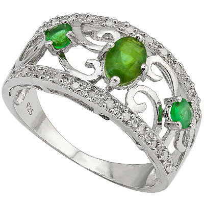 PRICELESS 0.42 CT GENUINE EMERALD WITH DOUBLE GENUINE EMERALD 0.925 STERLING SILVER W/ PLATINUM RING