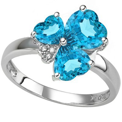 BLUE LOVE!! SKY BLUE TOPAZ & TRIPLE GENUINE WHITE DIAMOND 0.925 STERLING SILVER RING