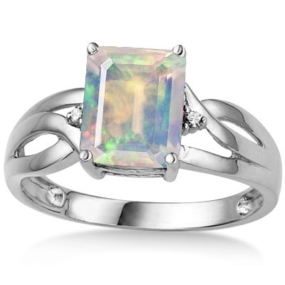 EXCLUSIVE 1.86 CT MOONLIGHT OPAL DOUBLE WHITE DIAMOND 0.925 STERLING SILVER W/ PLATINUM RING