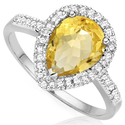 BRILLIANT 0.993 CARAT CITRINE WITH DOUBLE GENUINE DIAMONDS PLATINUM OVER 0.925 STERLING SILVER RING