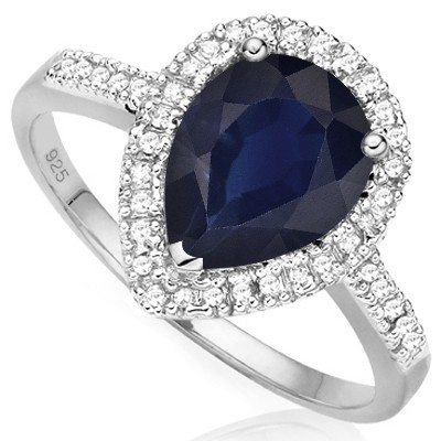 BREATHTAKING! 1.43 CT GENUINE BLACK SAPPHIRE DOUBLE WHITE DIAMONDS 0.925 STERLING SILVER W/ PLATINUM RING
