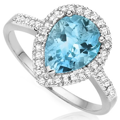 ENORMOUS 3.00 CT SKY BLUE TOPAZ & 4 PCS WHITE DIAMOND 0.925 STERLING SILVER W/ PLATINUM RING