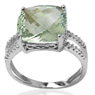 HUGE 6.58 CT GREEN AMETHYST DOUBLE WHITE DIAMOND 0.925 STERLING SILVER W/ PLATINUM RING