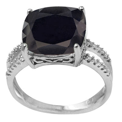 ENORMOUS 8.3 CT GENUINE BLACK SAPPHIRE DOUBLE WHITE DIAMOND 0.925 STERLING SILVER W/ PLATINUM RING
