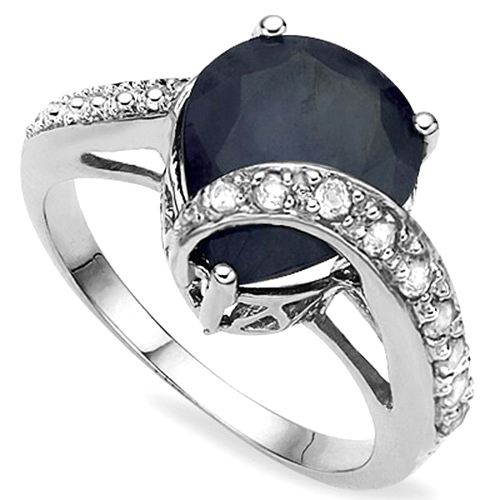 HUGE 5.05 CT GENUINE BLACK SAPPHIRE & 6PCS WHITE DIAMOND 0.925 STERLING SILVER RING