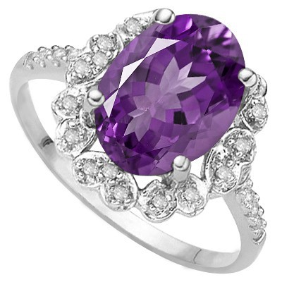 WONDERFUL FLORAL LAVENDER AMETHYST DOUBLE WHITE DIAMOND 0.925 STERLING SILVER W/ PLATINUM RING