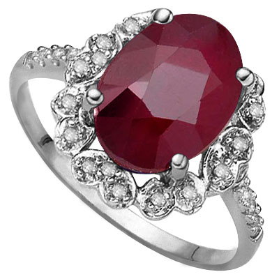 SPECTACULAR 3.00 CT GENUINE RUBY WITH DOUBLE GENUINE DIAMONDS 0.925 STERLING SILVER W/ PLATINUM RING