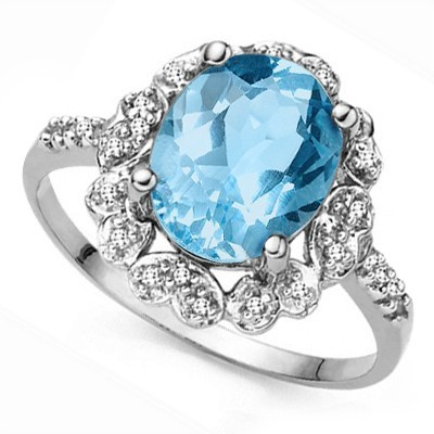 BREATHTAKING! 3.21 CT SKY BLUE TOPAZ DOUBLE GENUINE DIAMONDS 0.925 STERLING SILVER W/ PLATINUM RING