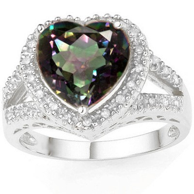 RAINBOW 4.14 CT MYSTIC GEMSTONE WITH DOUBLE GENUINE DIAMONDS 0.925 STERLING SILVER W/ PLATINUM RING