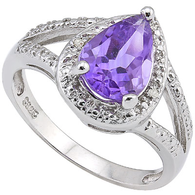 LOVELY 1.75 CT AMETHYST & 2 PCS GENUINE DIAMOND 0.925 STERLING SILVER W/ PLATINUM RING