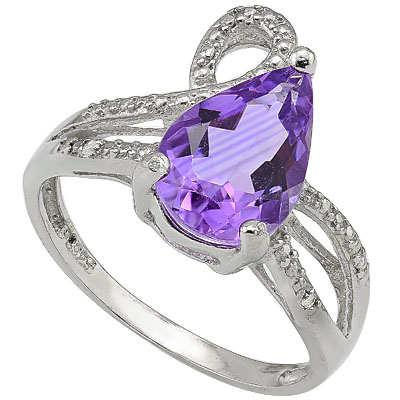 LOVELY 2.37 CT AMETHYST & 2PCS GENUINE DIAMONDS 0.925 STERLING SILVER W/ PLATINUM RING