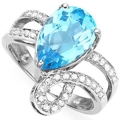 GLAMOROUS 3.55 CT SKY BLUE TOPAZ DOUBLE WHITE DIAMOND 0.925 STERLING SILVER W/ PLATINUM RING