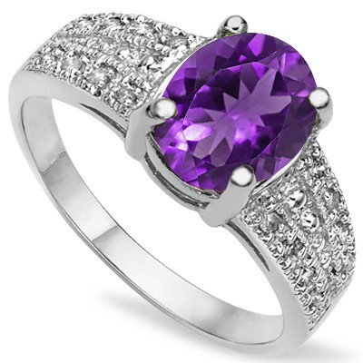 GORGEOUS 1.25 CARAT AMETHYST & DOUBLE GENUINE DIAMONDS PLATINUM OVER 0.925 STERLING SILVER RING