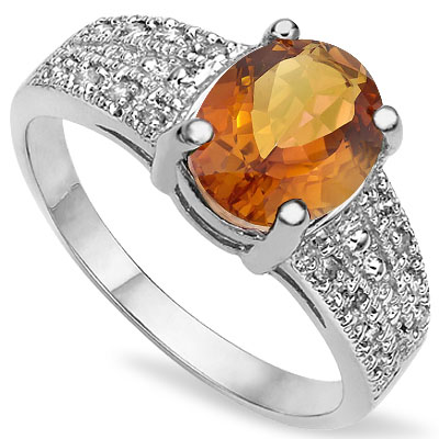 CHARMING 1.75 CT AZOTIC MYSTIC GEMSTONE WITH DOUBLE GENUINE DIAMONDS PLATINUM OVER 0.925 STERLING SILVER RING