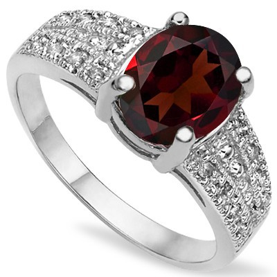STUNNING RED GARNET & GENUINE WHITE DIAMOND 0.925 STERLING SILVER W/ PLATINUM RING
