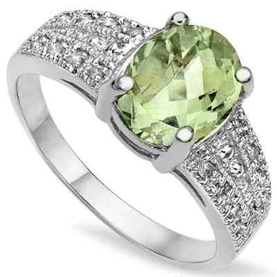GLAMOROUS LIGHT GREEN TEA AMETHYST 0.925 STERLING SILVER W/ PLANITUM RING