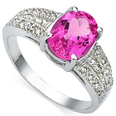 GORGEOUS 2.40 CT PINK TOPAZ WITH DOUBLE DIAMONDS 0.925 STERLING SILVER W/ PLATINUM RING