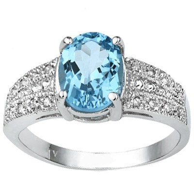 GLAMOROUS 2.40 CT BLUE TOPAZ & 2 PCS WHITE DIAMOND 0.925 STERLING SILVER W/ PLATINUM RING