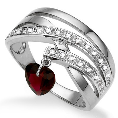 PRETTY HEART LOVING GARNET & (SI) BRILLIANT GENUINE DIAMOND 0.925 STERLING SILVER W/ PLATINUM RING