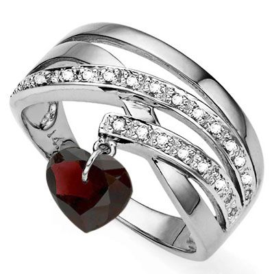 PRECIOUS 1.08 CARAT TW (5 PCS) GARNET & GENUINE DIAMOND PLATINUM OVER 0.925 STERLING SILVER RING