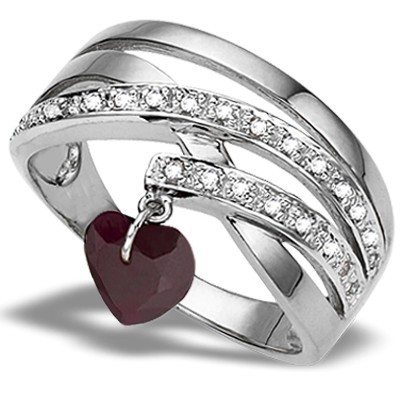 HEART LOVING GENUINE RUBY & (SI) GENUINE DIAMOND 0.925 STERLING SILVER W/ PLATINUM RING