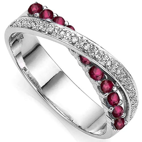 BRILLIANT 0.54 CARAT TW (11 PCS) GENUINE RUBY & DOUBLE GENUINE DIAMONDS PLATINUM OVER 0.925 STERLING SILVER RING