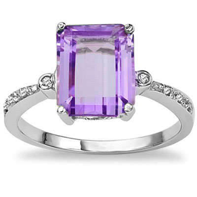 PRICELESS 2.96 CT AMETHYST WITH DOUBLE GENUINE DIAMONDS 0.925 STERLING SILVER W/ PLATINUM RING