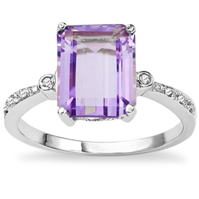 BEAUTIFUL EMERALD CUT FLORAL LAVENDER AMETHYST GENUINE DIAMONDS STERLING SILVER RING