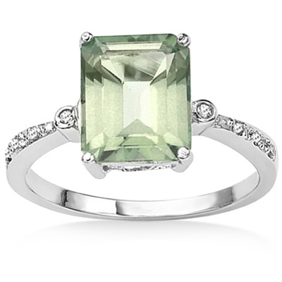 MARVELOUS GREEN AMETHYST DOUBLE WHITE DIAMOND 0.925 STERLING SILVER W/ PLATINUM RING
