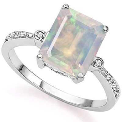 FABULOUS 2.60 CT FIRE OPAL DOUBLE WHITE DIAMOND 0.925 STERLING SILVER W/ PLATINUM RING